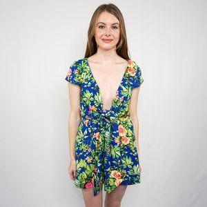 REVERSE Blue Floral Plunge Tie Mini Dress